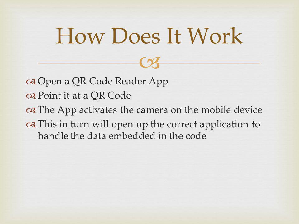 Open a QR Code Reader App Point it at a QR Code The App activates the camera on the mobile device This in turn will open up the correct application to handle the data embedded in the code How Does It Work