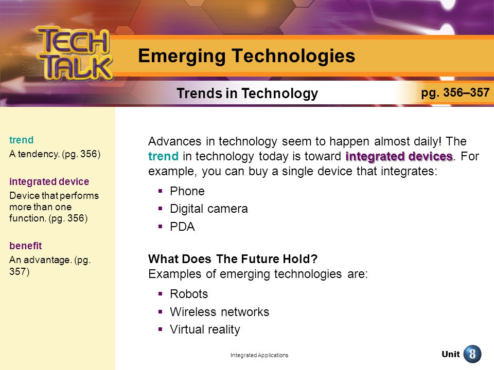 Unit Integrated Applications Emerging Technologies integrated devices Advances in technology seem to happen almost daily.