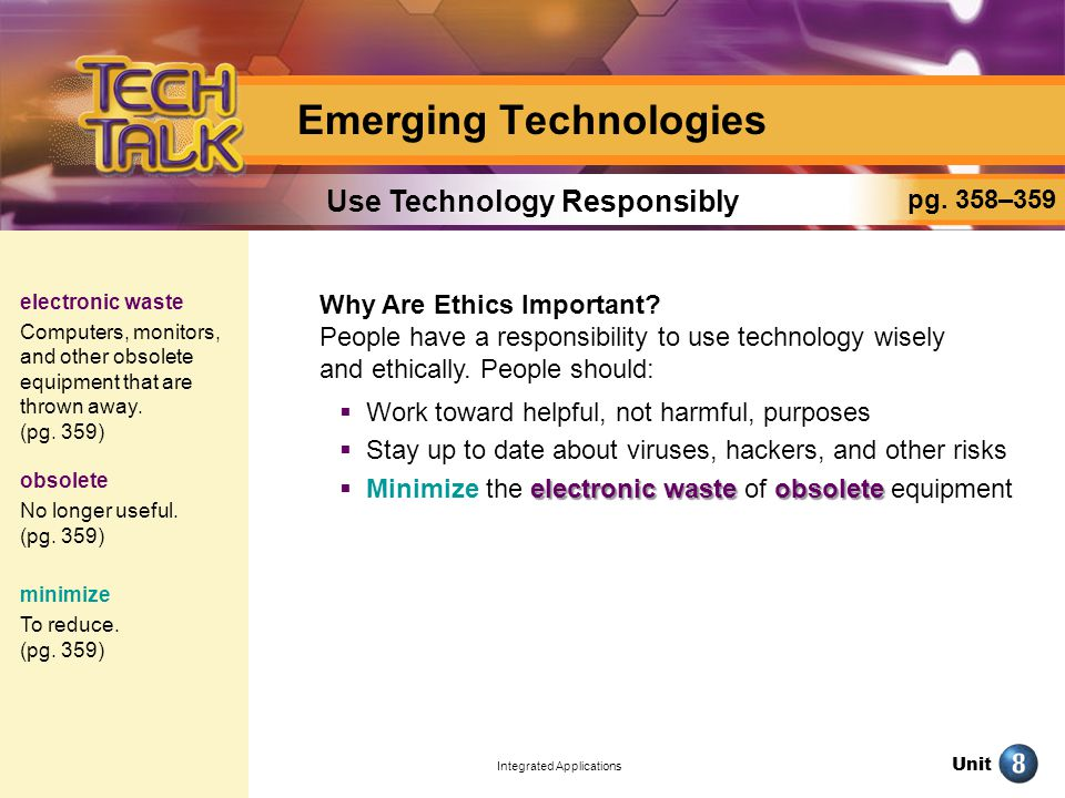 Unit Integrated Applications Emerging Technologies Why Are Ethics Important.