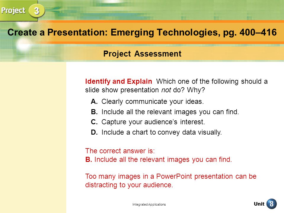 Unit Integrated Applications Create a Presentation: Emerging Technologies, pg.