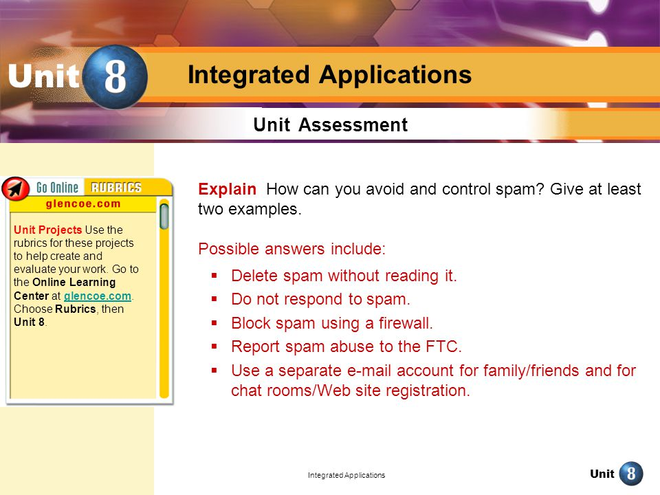 Unit Integrated Applications Unit Unit Assessment Explain How can you avoid and control spam.
