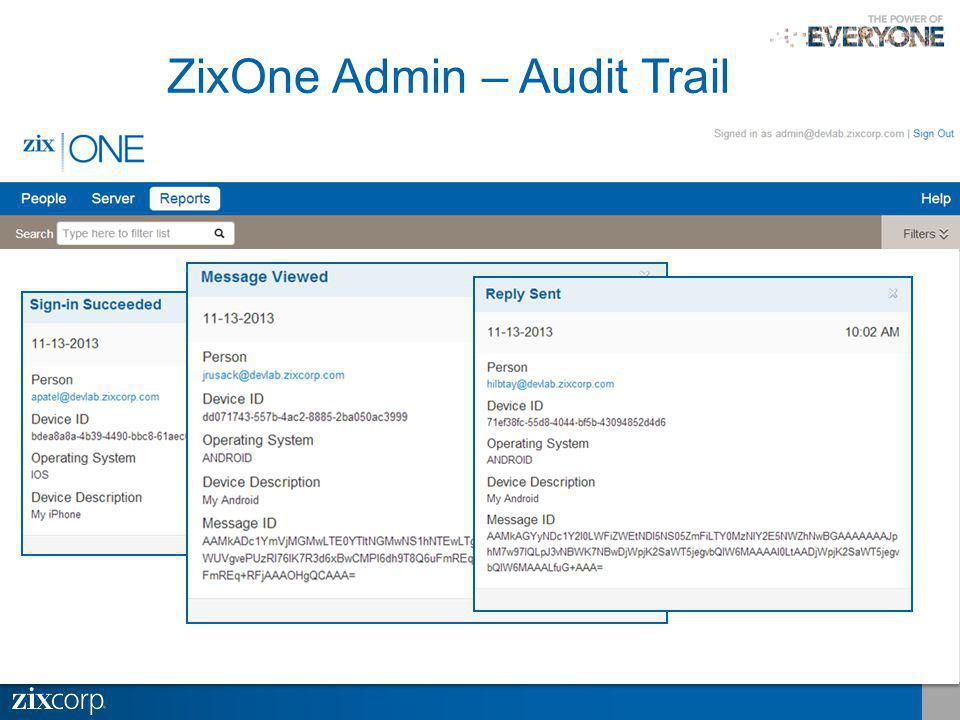 ZixOne Admin – Audit Trail