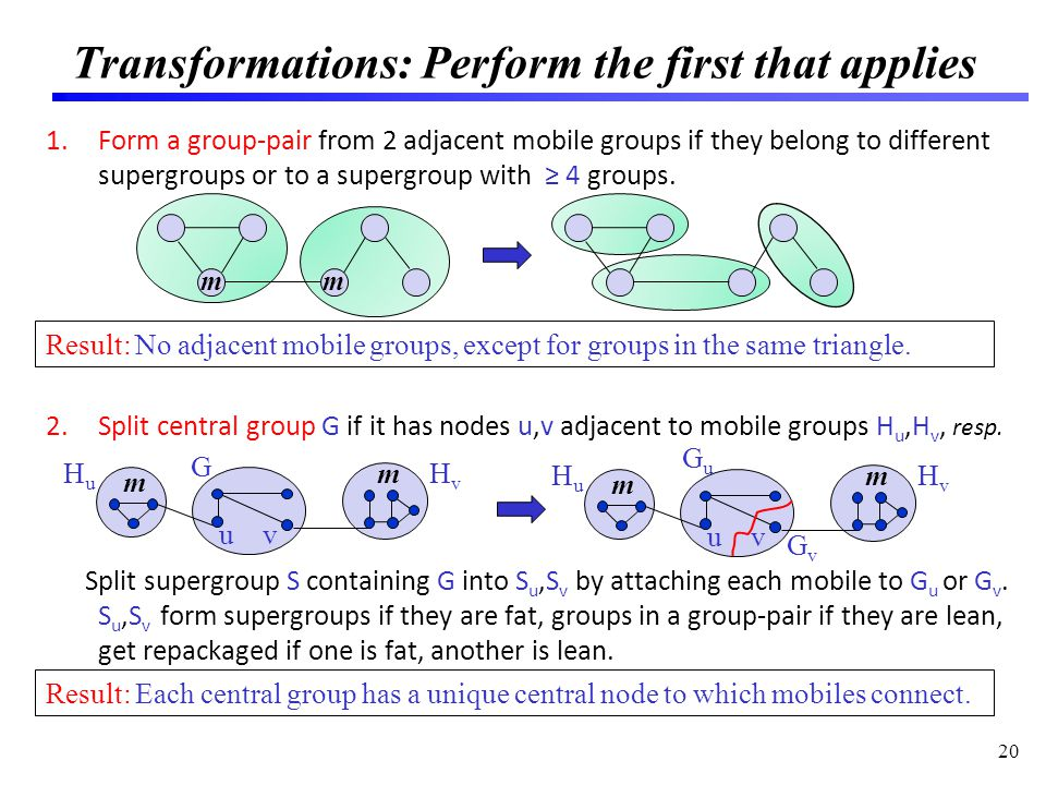 Transformations: Perform the first that applies 1.Form a group-pair from 2 adjacent mobile groups if they belong to different supergroups or to a supergroup with 4 groups.