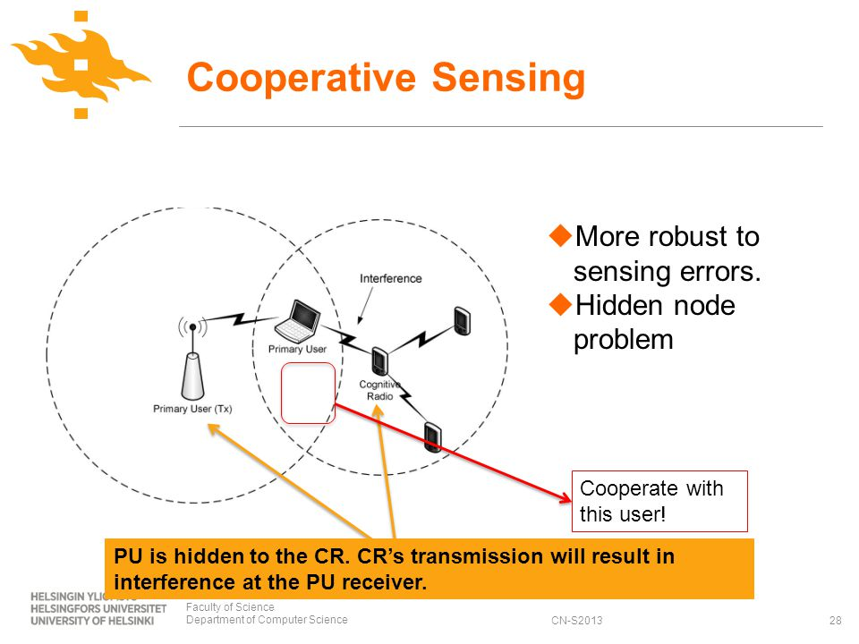 CN-S2013 Cooperative Sensing Faculty of Science Department of Computer Science28 More robust to sensing errors.