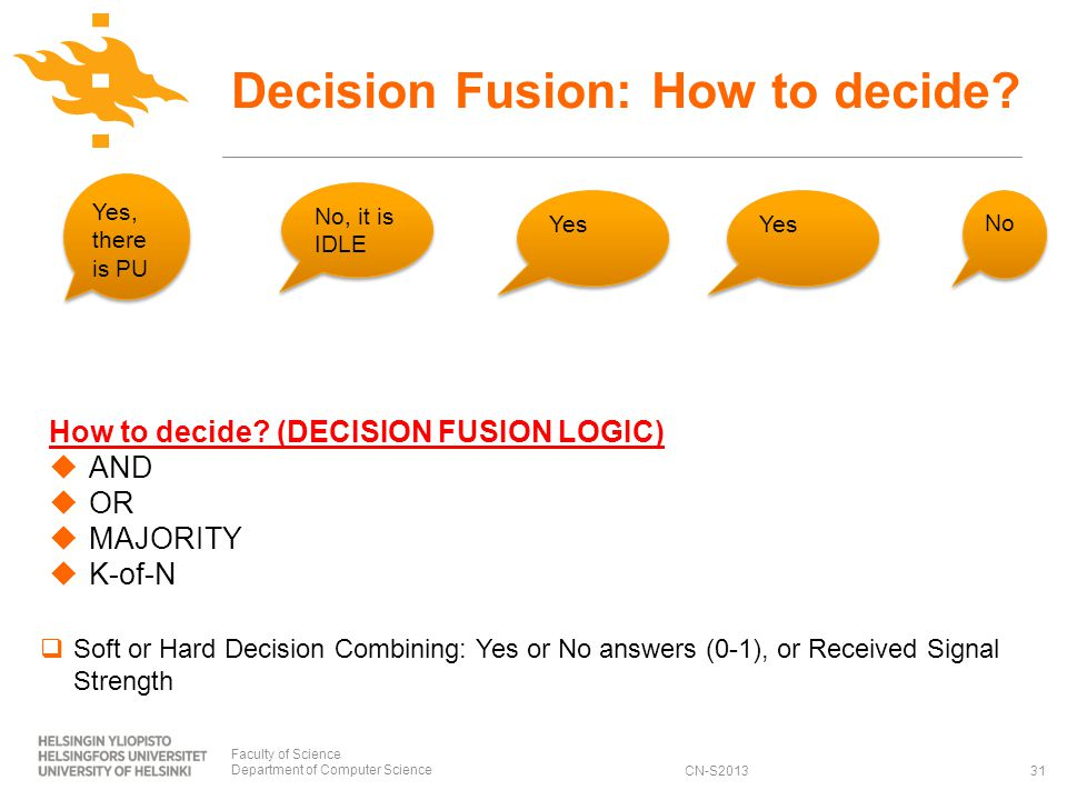 CN-S2013 Decision Fusion: How to decide.