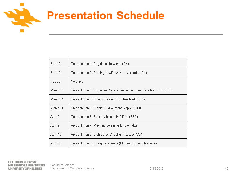 CN-S2013 Presentation Schedule Faculty of Science Department of Computer Science40