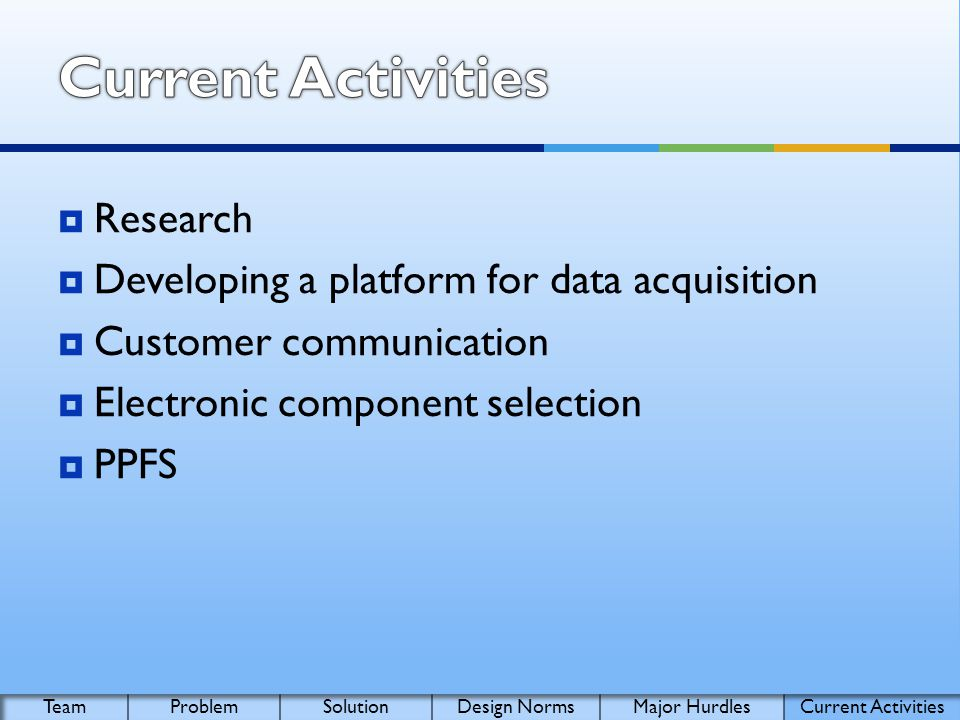 Research Developing a platform for data acquisition Customer communication Electronic component selection PPFS