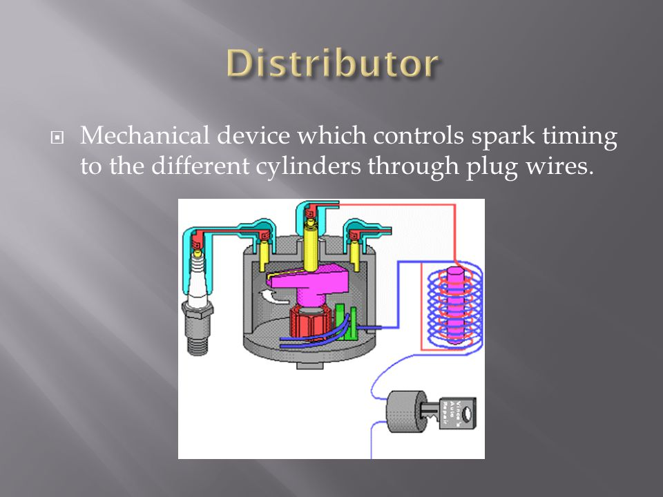 Mechanical device which controls spark timing to the different cylinders through plug wires.