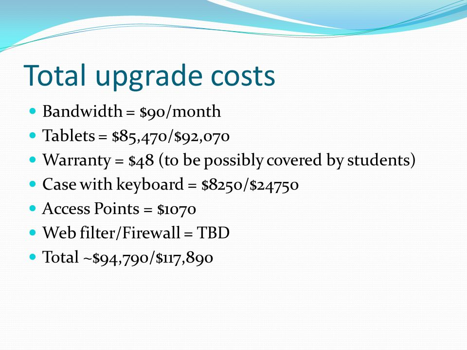 Total upgrade costs Bandwidth = $90/month Tablets = $85,470/$92,070 Warranty = $48 (to be possibly covered by students) Case with keyboard = $8250/$24750 Access Points = $1070 Web filter/Firewall = TBD Total ~$94,790/$117,890
