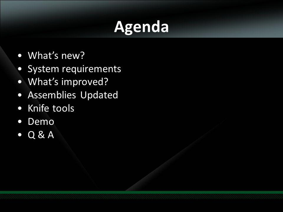 Agenda Whats new System requirements Whats improved Assemblies Updated Knife tools Demo Q & A