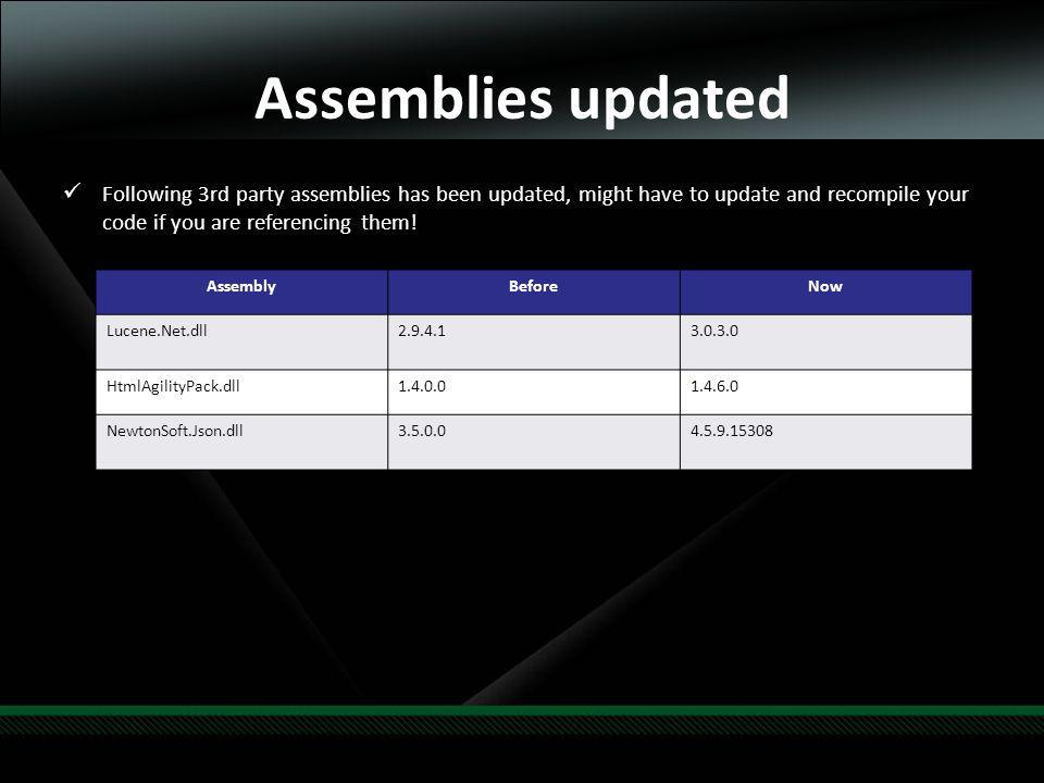 Assemblies updated Following 3rd party assemblies has been updated, might have to update and recompile your code if you are referencing them.