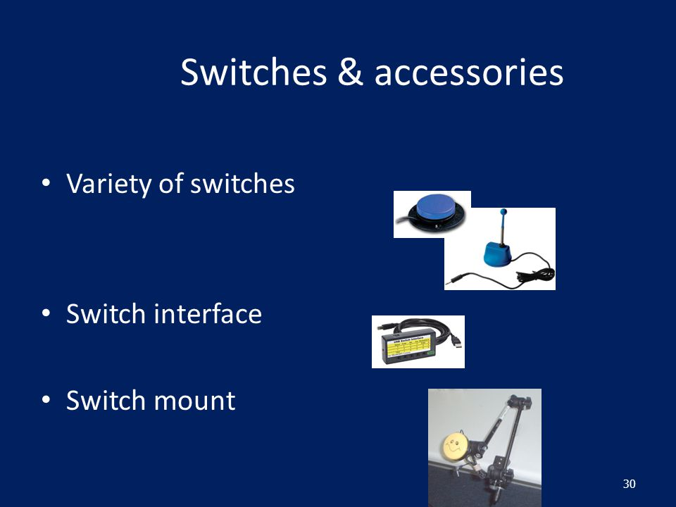 Switches & accessories Variety of switches Switch interface Switch mount 30