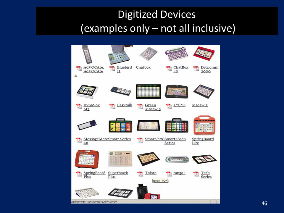 Digitized Devices (examples only – not all inclusive) 46