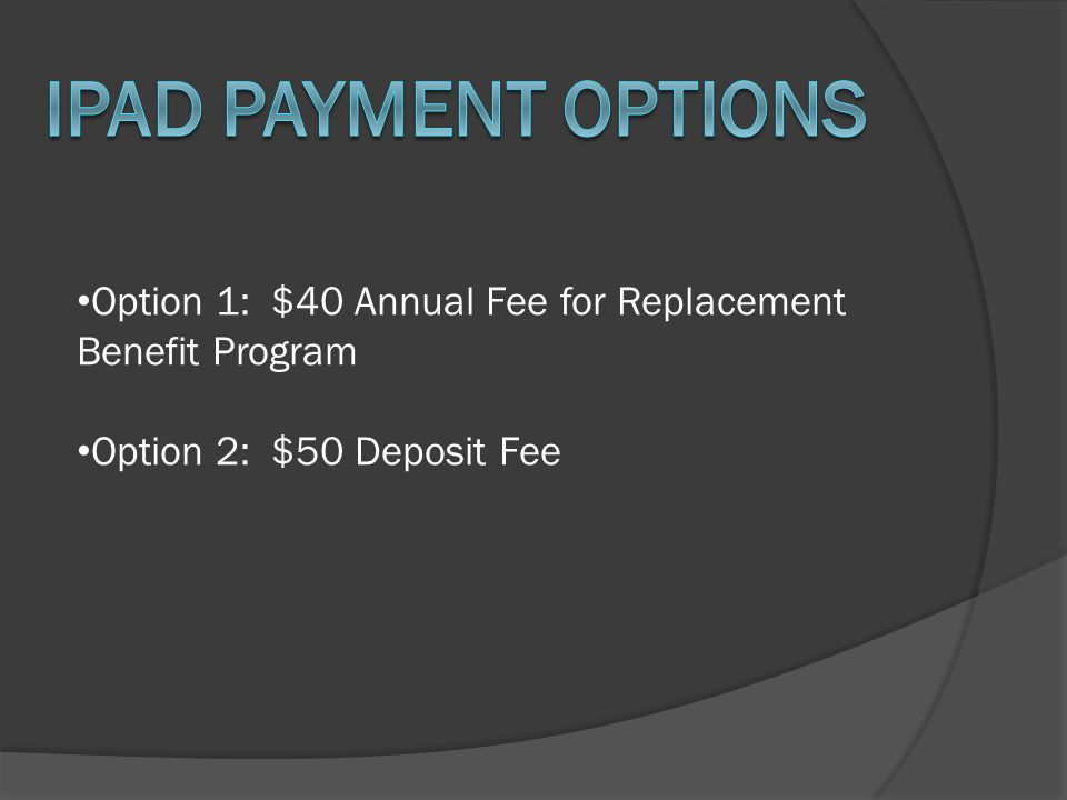 Option 1: $40 Annual Fee for Replacement Benefit Program Option 2: $50 Deposit Fee