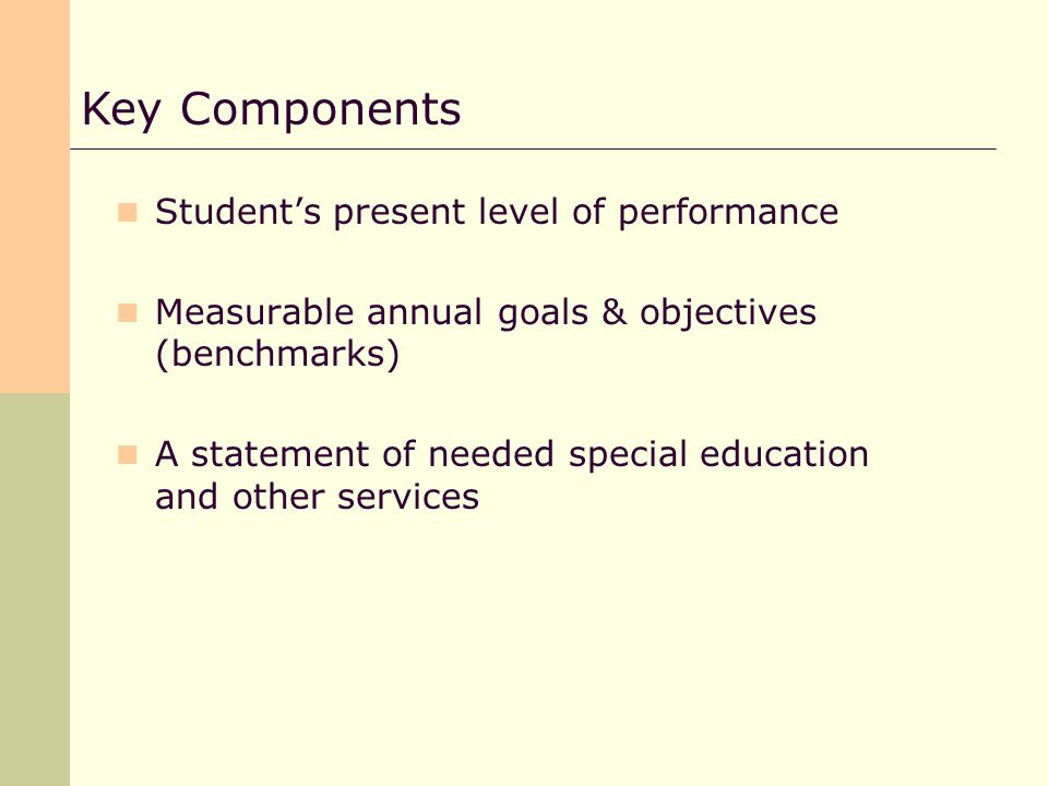 Students present level of performance Measurable annual goals & objectives (benchmarks) A statement of needed special education and other services Key Components