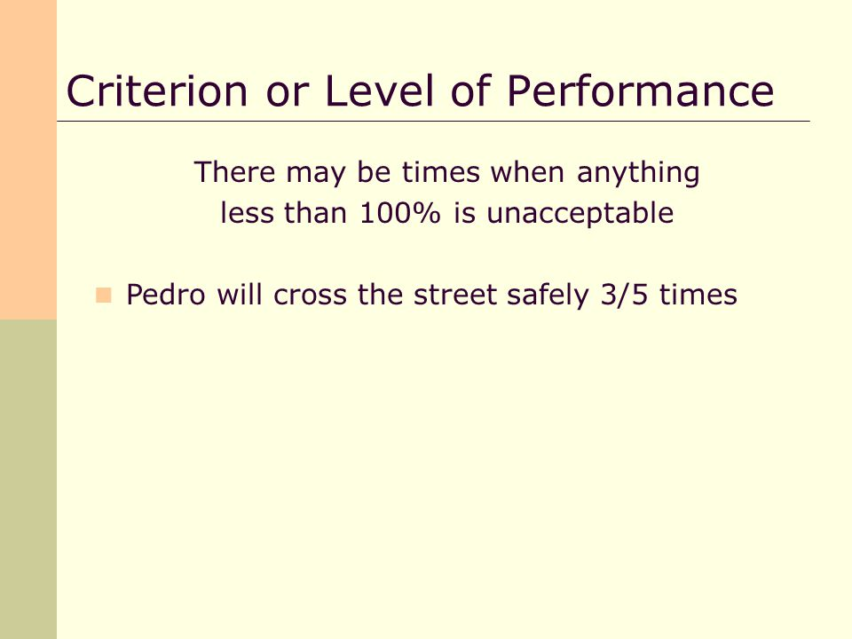 There may be times when anything less than 100% is unacceptable Pedro will cross the street safely 3/5 times
