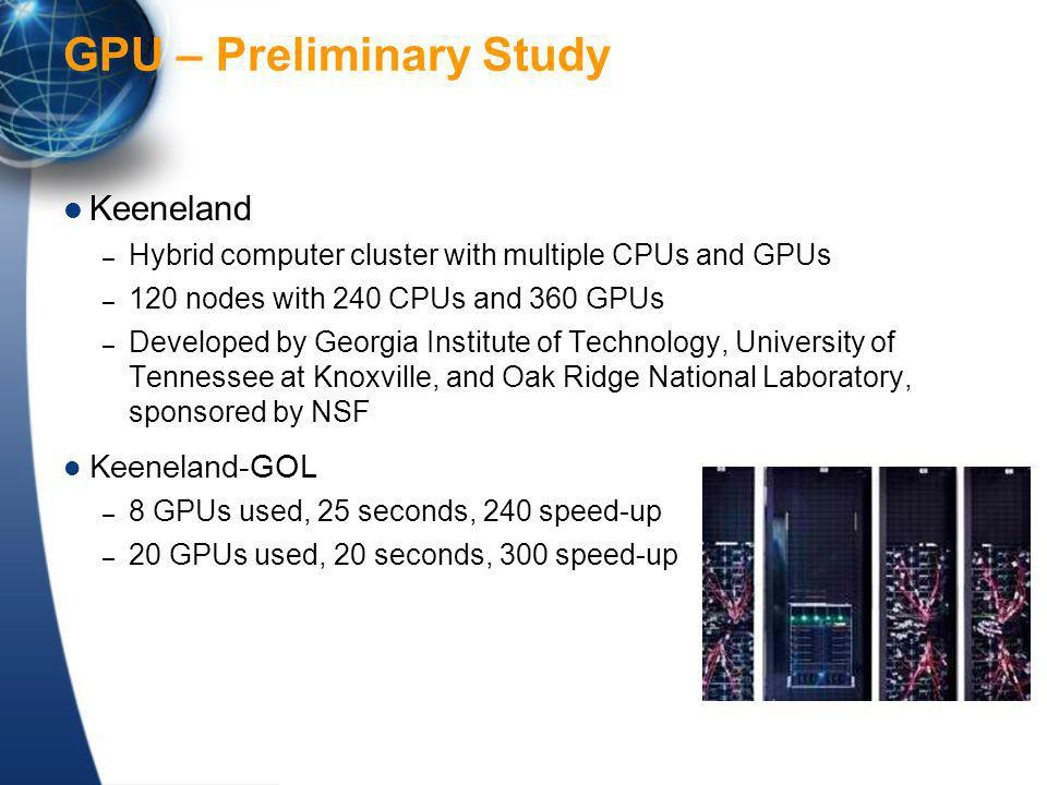GPU – Preliminary Study Keeneland – Hybrid computer cluster with multiple CPUs and GPUs – 120 nodes with 240 CPUs and 360 GPUs – Developed by Georgia Institute of Technology, University of Tennessee at Knoxville, and Oak Ridge National Laboratory, sponsored by NSF Keeneland-GOL – 8 GPUs used, 25 seconds, 240 speed-up – 20 GPUs used, 20 seconds, 300 speed-up