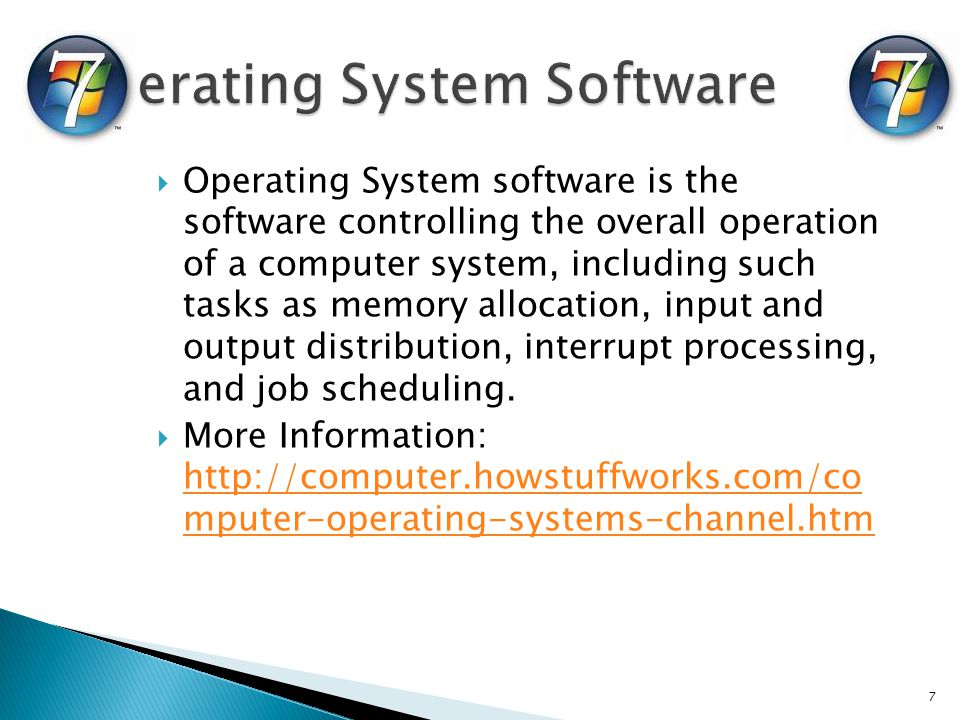 Operating System software is the software controlling the overall operation of a computer system, including such tasks as memory allocation, input and output distribution, interrupt processing, and job scheduling.
