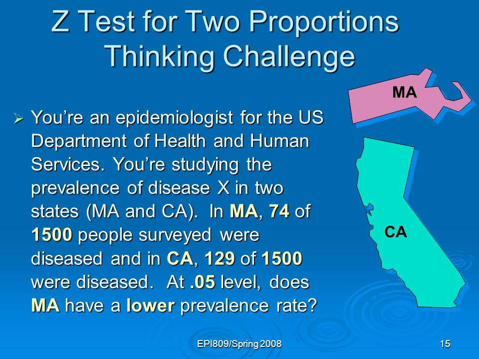 EPI809/Spring 200815 Z Test for Two Proportions Thinking Challenge Youre an epidemiologist for the US Department of Health and Human Services.