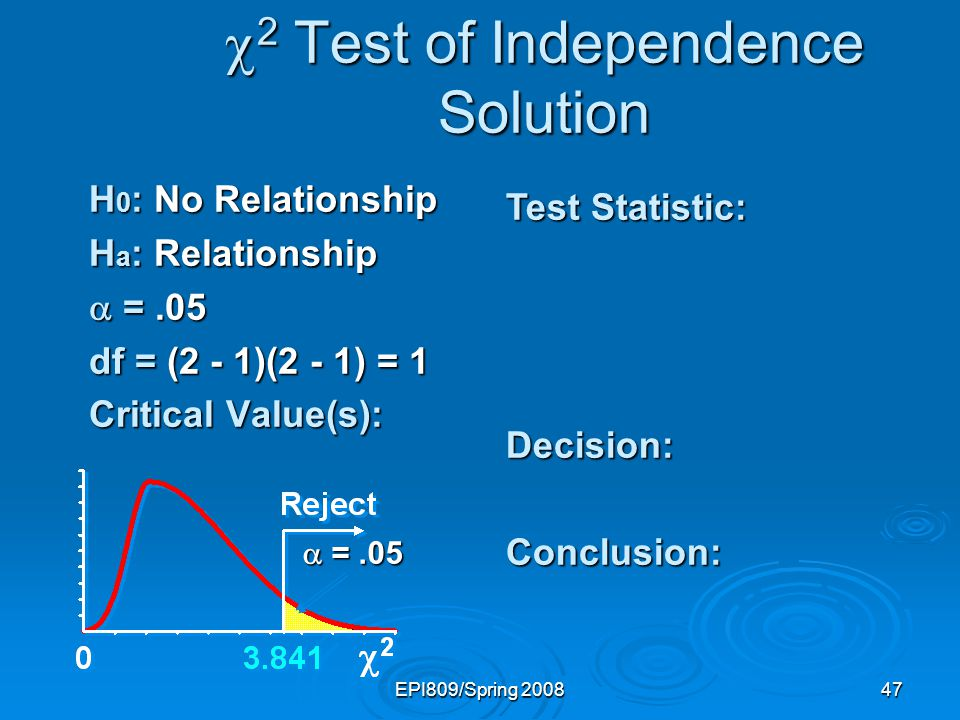 EPI809/Spring 200847 2 Test of Independence Solution 2 Test of Independence Solution H 0 : No Relationship H a : Relationship =.05 =.05 df = (2 - 1)(2 - 1) = 1 Critical Value(s): Test Statistic: Decision:Conclusion: =.05 =.05