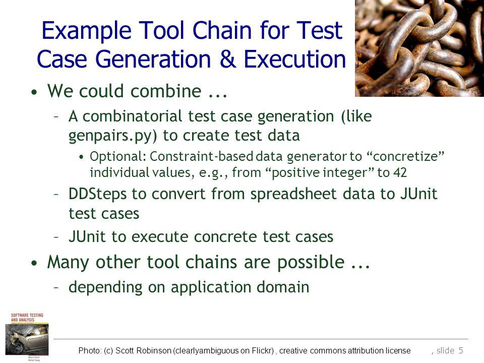 (c) 2007 Mauro Pezzè & Michal Young Ch 17, slide 5 Example Tool Chain for Test Case Generation & Execution We could combine...
