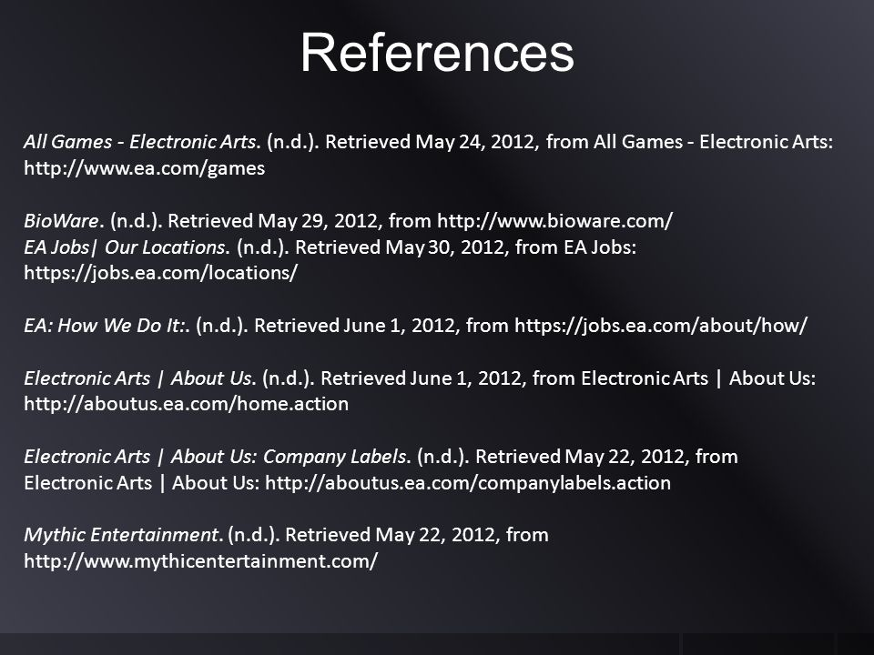References All Games - Electronic Arts. (n.d.).