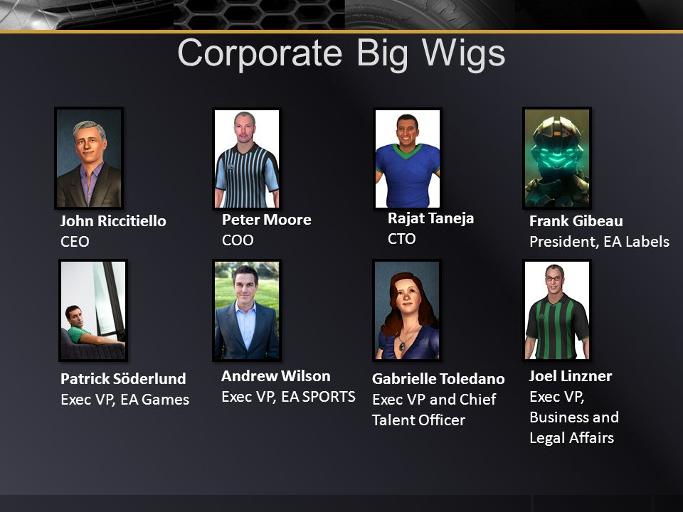 Corporate Big Wigs John Riccitiello CEO Peter Moore COO Rajat Taneja CTO Frank Gibeau President, EA Labels Patrick Söderlund Exec VP, EA Games Andrew Wilson Exec VP, EA SPORTS Gabrielle Toledano Exec VP and Chief Talent Officer Joel Linzner Exec VP, Business and Legal Affairs