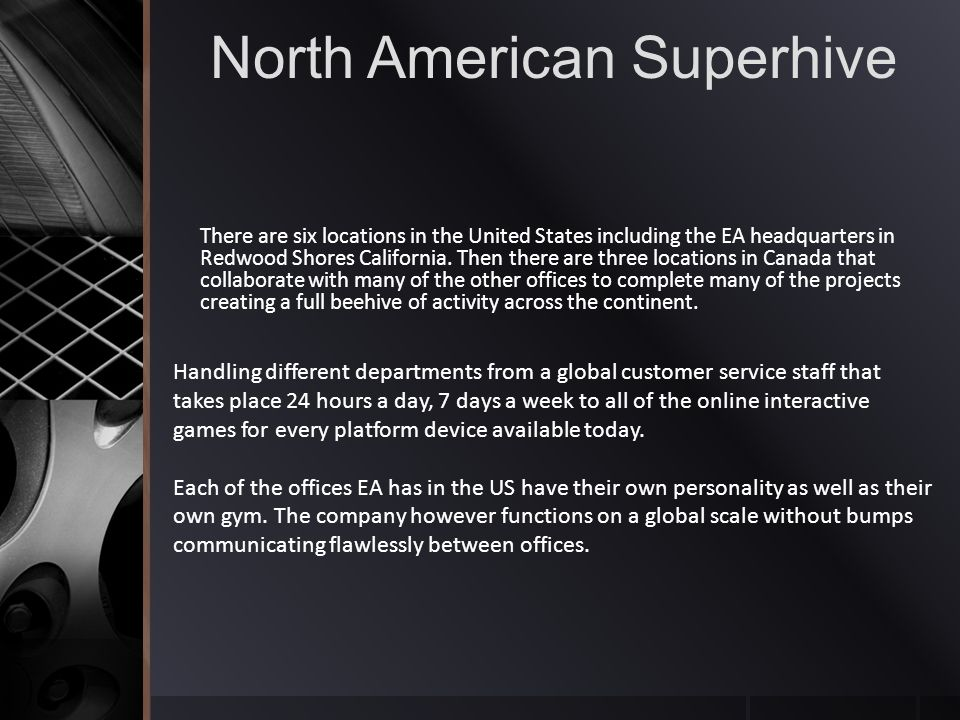 North American Superhive There are six locations in the United States including the EA headquarters in Redwood Shores California.
