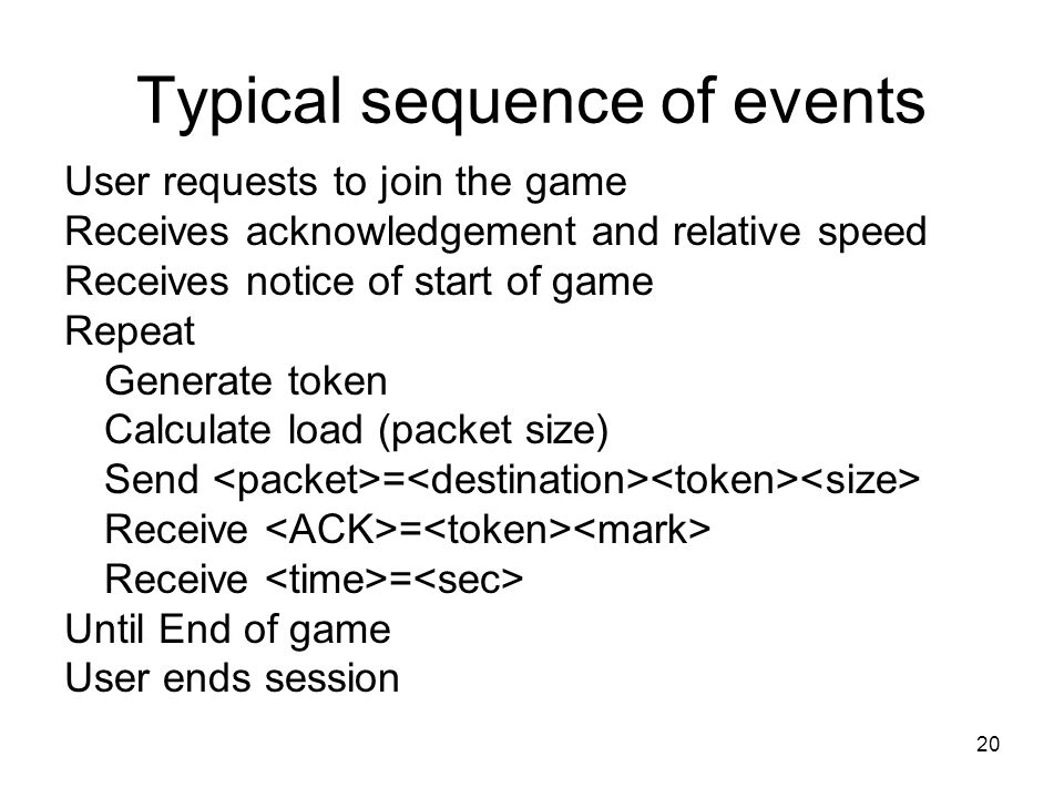 20 Typical sequence of events User requests to join the game Receives acknowledgement and relative speed Receives notice of start of game Repeat Generate token Calculate load (packet size) Send = Receive = Until End of game User ends session