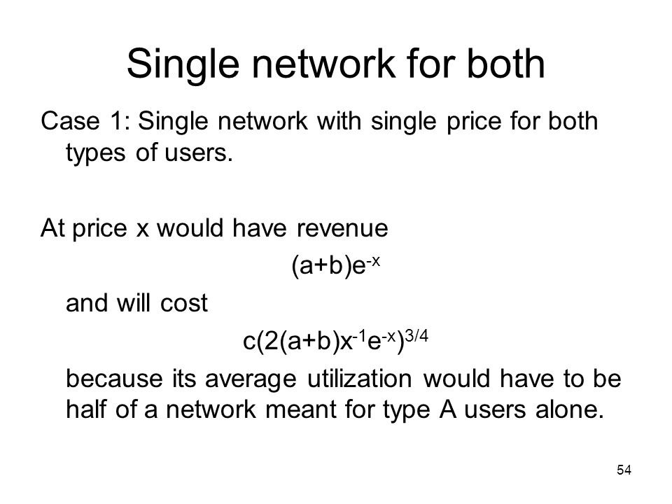 54 Single network for both Case 1: Single network with single price for both types of users.