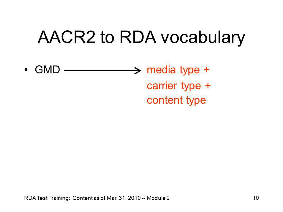 RDA Test Training: Content as of Mar.