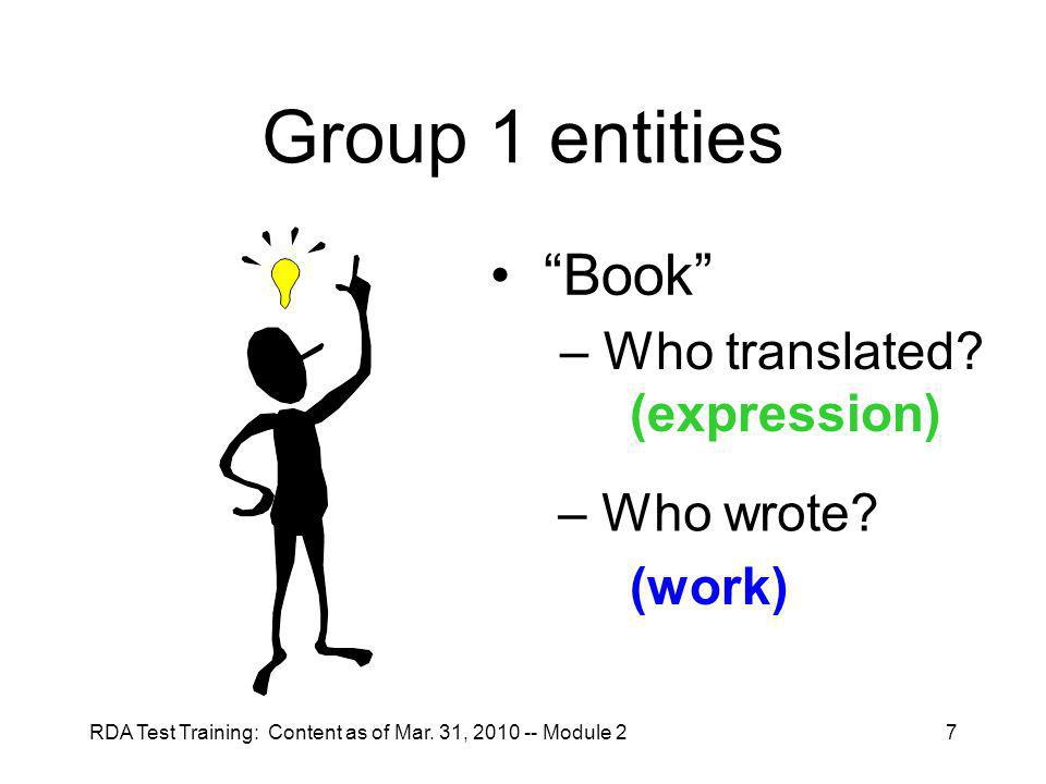 RDA Test Training: Content as of Mar. 31, 2010 -- Module 27 Group 1 entities Book – Who translated.