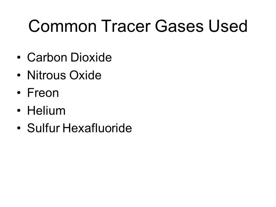 Common Tracer Gases Used Carbon Dioxide Nitrous Oxide Freon Helium Sulfur Hexafluoride