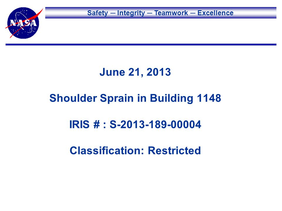 Safety Integrity Teamwork Excellence June 21, 2013 Shoulder Sprain in Building 1148 IRIS # : S-2013-189-00004 Classification: Restricted