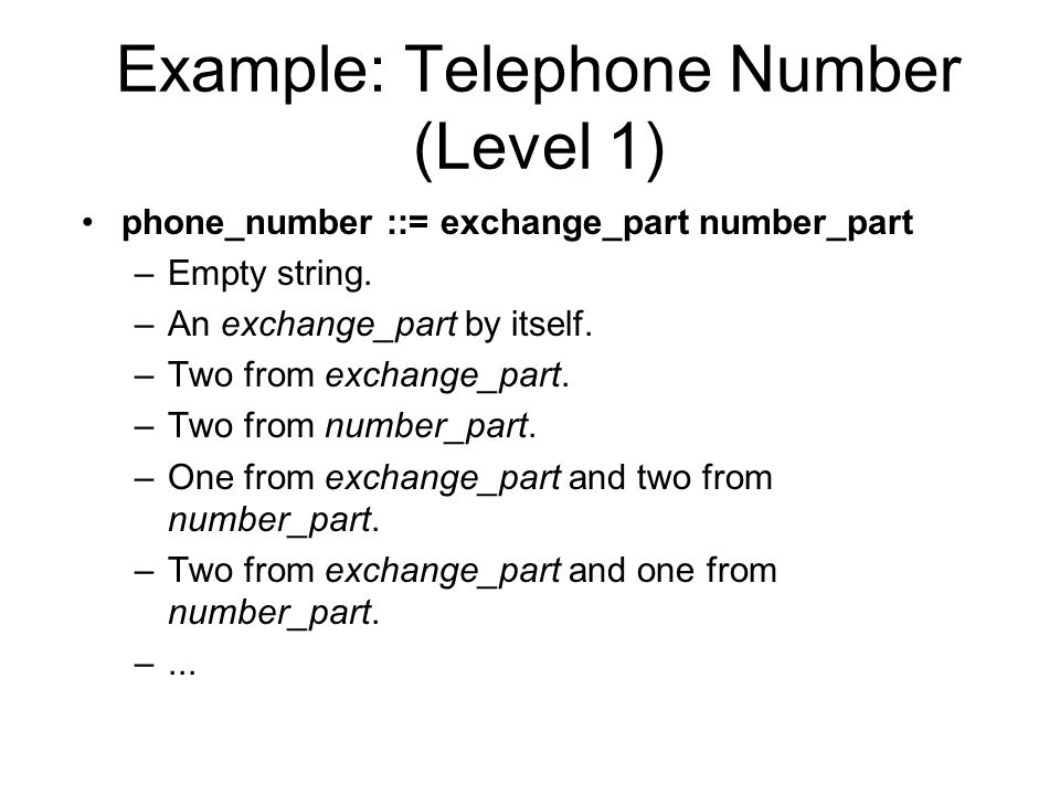 Example: Telephone Number (Level 1) phone_number ::= exchange_part number_part –Empty string.