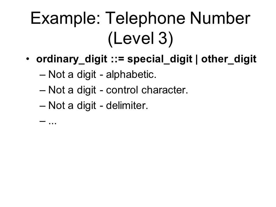 Example: Telephone Number (Level 3) ordinary_digit ::= special_digit | other_digit –Not a digit - alphabetic.