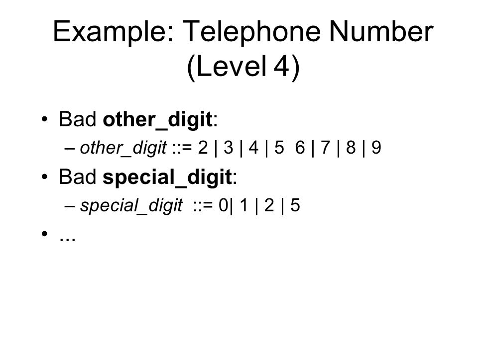 Example: Telephone Number (Level 4) Bad other_digit: –other_digit ::= 2 | 3 | 4 | 5 6 | 7 | 8 | 9 Bad special_digit: –special_digit ::= 0| 1 | 2 | 5...