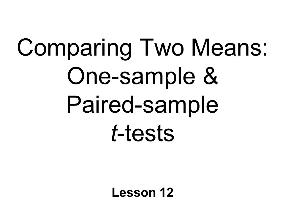 Comparing Two Means: One-sample & Paired-sample t-tests Lesson 12