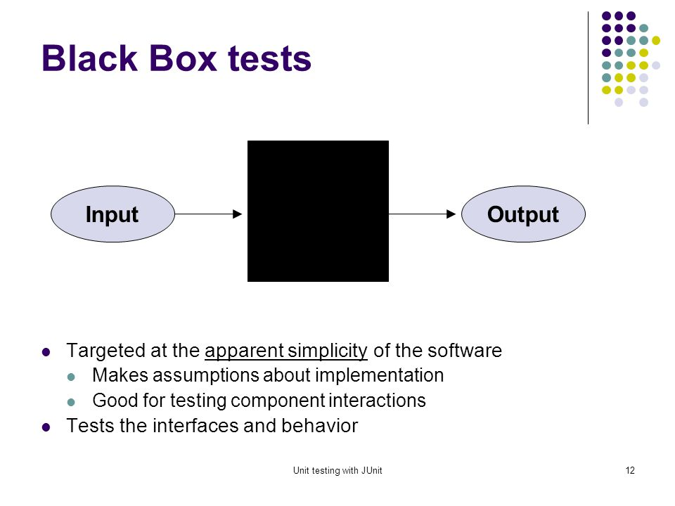 Unit testing with JUnit11 Test case design technique Test case design techniques can be broadly split into two main categories Black box (functional) White box (structural)