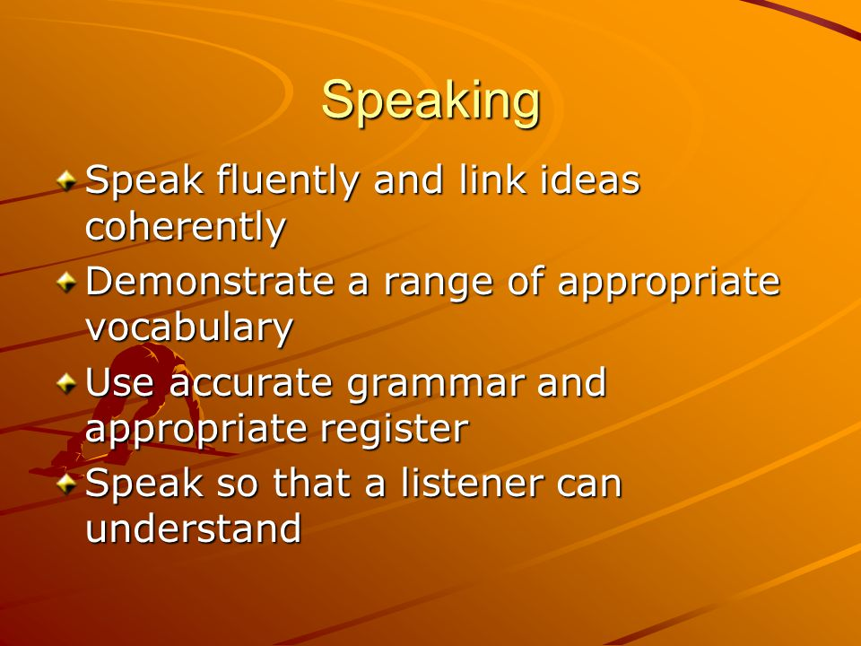Speaking Speak fluently and link ideas coherently Demonstrate a range of appropriate vocabulary Use accurate grammar and appropriate register Speak so that a listener can understand