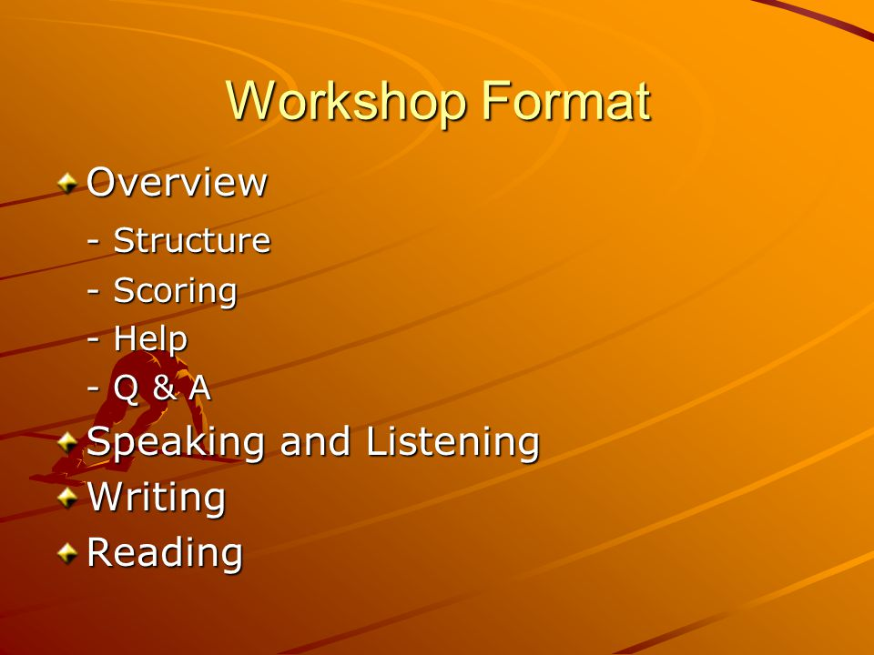 Workshop Format Overview - Structure - Scoring - Help - Q & A Speaking and Listening WritingReading