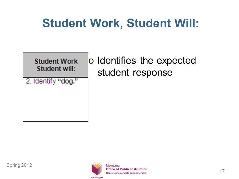 17 Student Work, Student Will: oIdentifies the expected student response Spring 2012