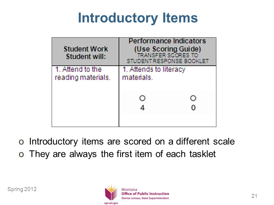 21 Introductory Items oIntroductory items are scored on a different scale oThey are always the first item of each tasklet Spring 2012