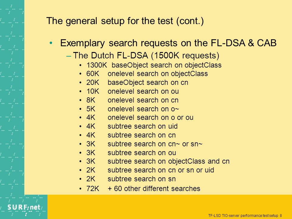 TF-LSD TIO-server performance test setup 8 The general setup for the test (cont.) Exemplary search requests on the FL-DSA & CAB –The Dutch FL-DSA (1500K requests) 1300K baseObject search on objectClass 60Konelevel search on objectClass 20KbaseObject search on cn 10Konelevel search on ou 8Konelevel search on cn 5Konelevel search on o~ 4Konelevel search on o or ou 4Ksubtree search on uid 4Ksubtree search on cn 3Ksubtree search on cn~ or sn~ 3Ksubtree search on ou 3Ksubtree search on objectClass and cn 2Ksubtree search on cn or sn or uid 2Ksubtree search on sn 72K+ 60 other different searches