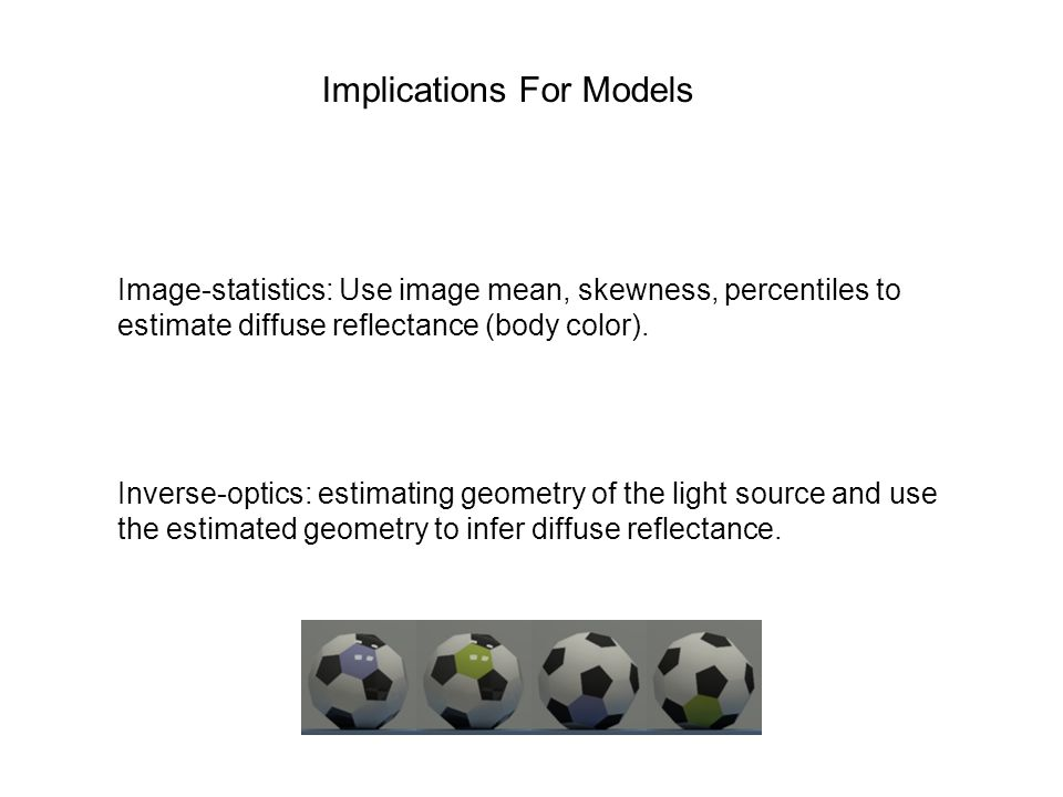Implications For Models Image-statistics: Use image mean, skewness, percentiles to estimate diffuse reflectance (body color).
