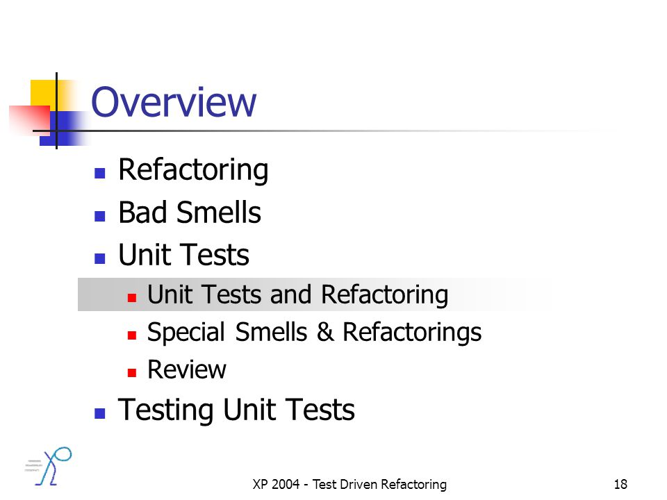 XP 2004 - Test Driven Refactoring18 Overview Refactoring Bad Smells Unit Tests Unit Tests and Refactoring Special Smells & Refactorings Review Testing Unit Tests