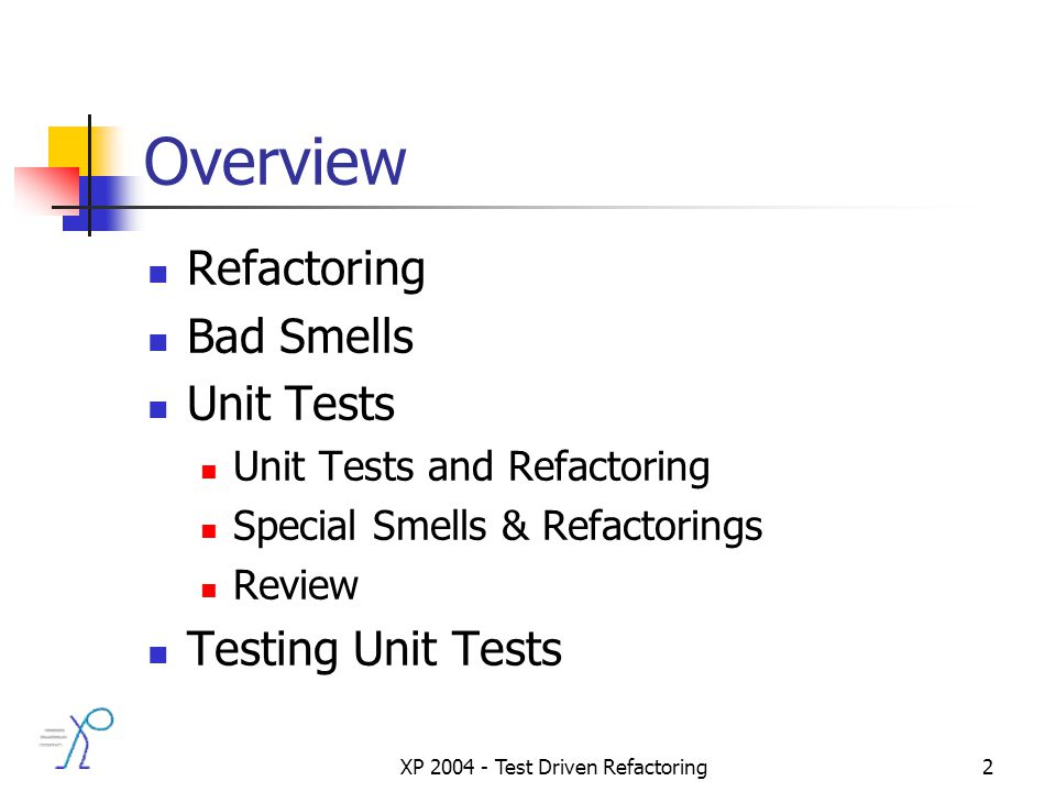 XP 2004 - Test Driven Refactoring2 Overview Refactoring Bad Smells Unit Tests Unit Tests and Refactoring Special Smells & Refactorings Review Testing Unit Tests