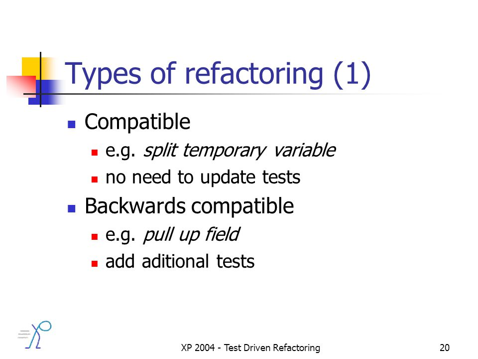 XP 2004 - Test Driven Refactoring20 Types of refactoring (1) Compatible e.g.