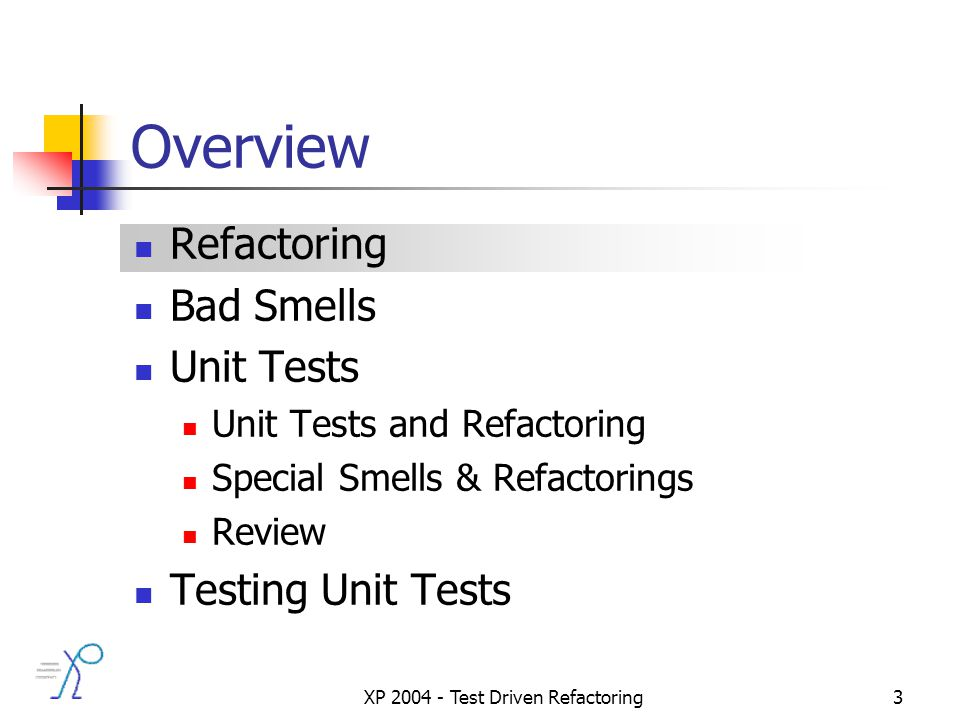 XP 2004 - Test Driven Refactoring3 Overview Refactoring Bad Smells Unit Tests Unit Tests and Refactoring Special Smells & Refactorings Review Testing Unit Tests