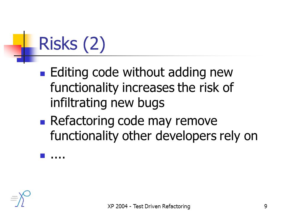 XP 2004 - Test Driven Refactoring9 Risks (2) Editing code without adding new functionality increases the risk of infiltrating new bugs Refactoring code may remove functionality other developers rely on....